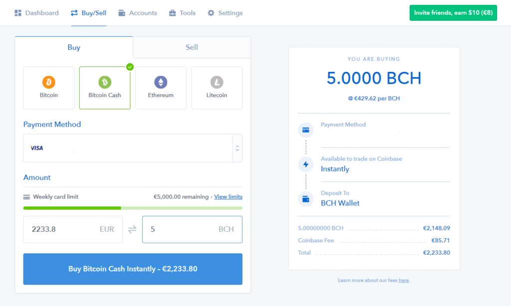 bitcoin cash - coinbase 3