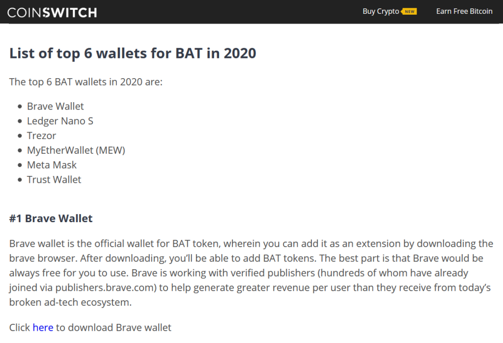 Basic Attention Token wallets