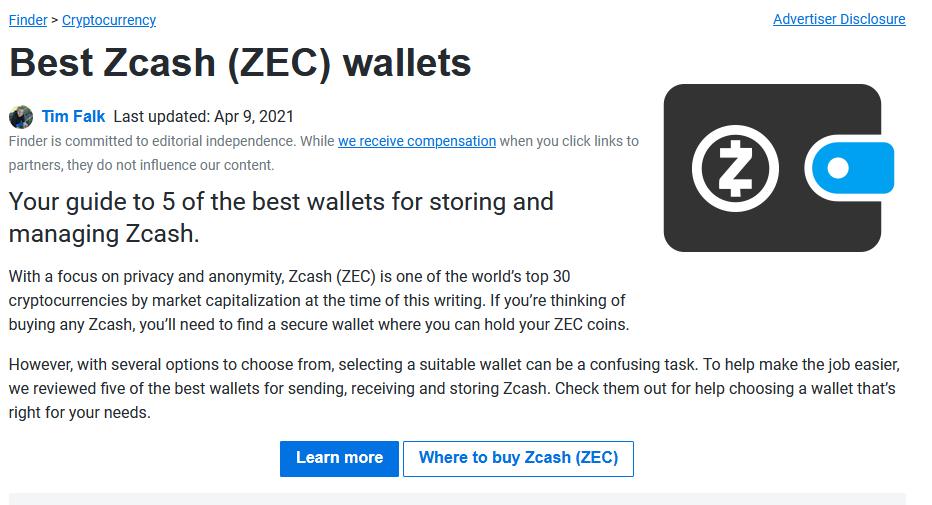 Zcash wallets